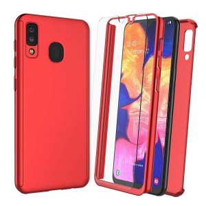 Husa Samsung Galaxy A20 Full Cover 360 + folie sticla, Red0