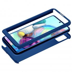 Husa Samsung Galaxy A71 Full Cover 360 + folie sticla, Albastru1