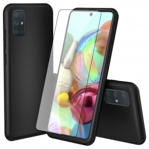 Husa Samsung Galaxy A71 Full Cover 360 + folie sticla, Negru1