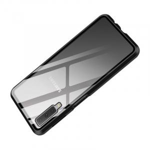 Husa Samsung Galaxy A7 (2018) Magnetic Glass 360 (sticla fata + spate), Negru2