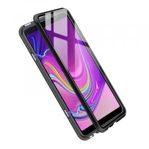 Husa Samsung Galaxy A7 (2018) Magnetic Glass 360 (sticla fata + spate), Negru1