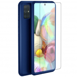 Husa Samsung Galaxy A71 Full Cover 360 + folie sticla, Albastru0