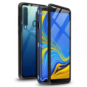 Husa Samsung Galaxy A9 (2018) Magnetic Glass 360 (sticla fata + spate), Negru0