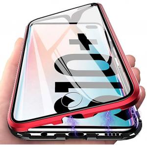 Husa Samsung Galaxy S10+ Magnetic Glass 360 (sticla fata + spate), Red1