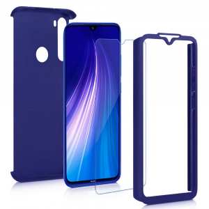 Husa Xiaomi Redmi Note 8 Full Cover 360 + folie sticla, Albastru1