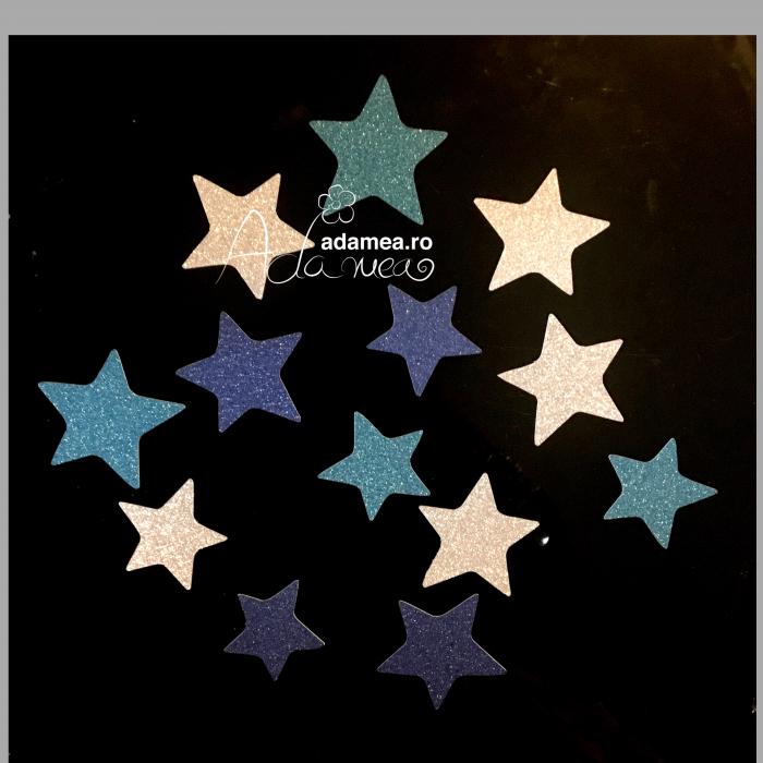 Set 12 steluțe albastru argintiu 0