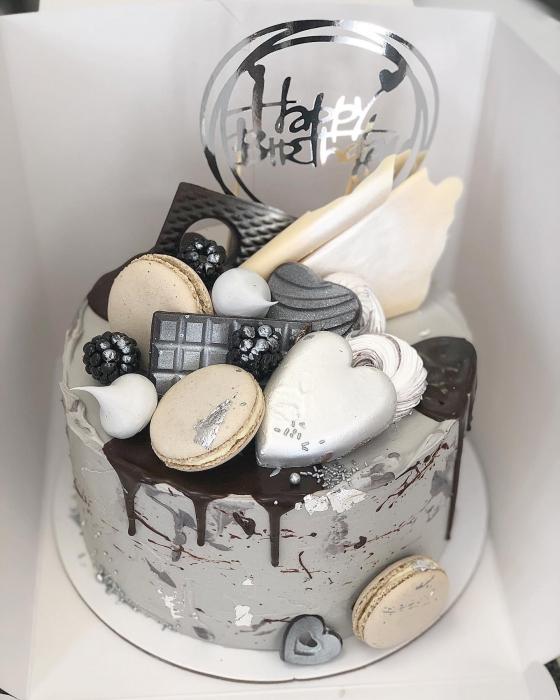 Topper Happy Birthday în cerc - argintiu oglindă 0