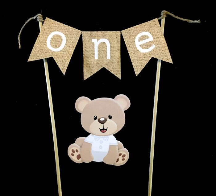 Mini banner pentru tort cu ONE și un ursuleț simpatic [0]
