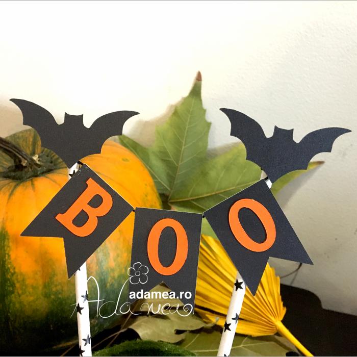 Banner tort de Halloween cu Boo și lilieci 0