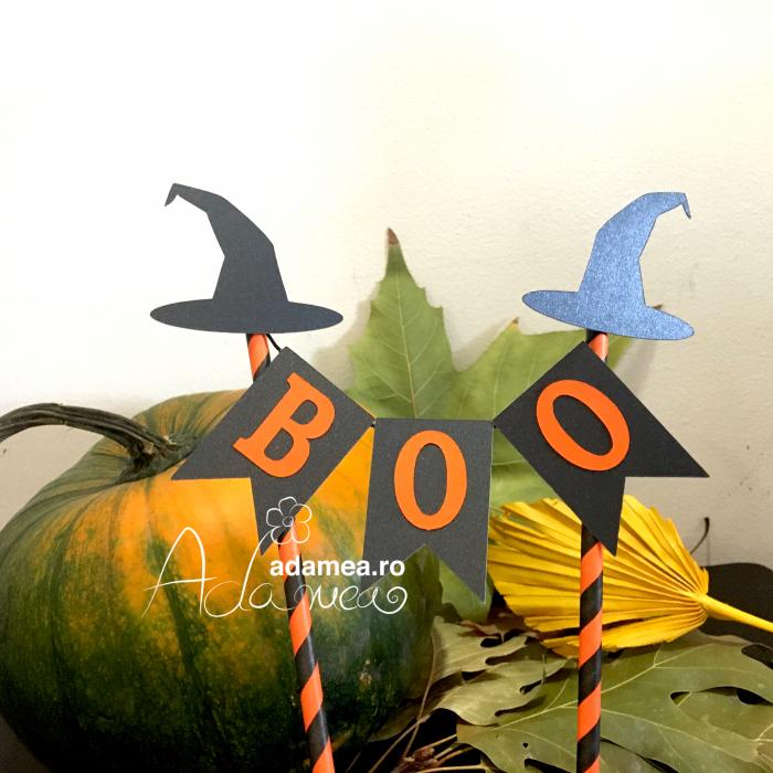 Banner tort de Halloween cu Boo și pălării de vrăjitoare 0