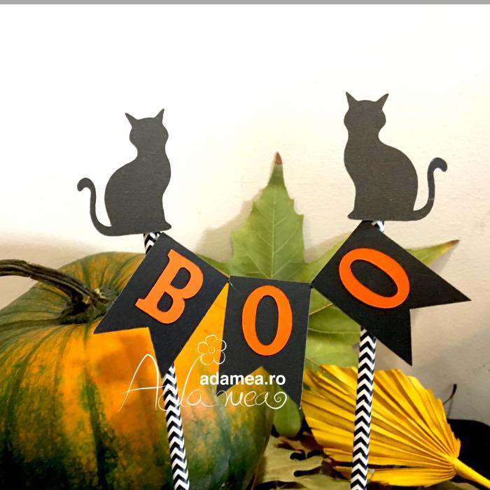 Banner tort de Halloween cu Boo și pisici 0
