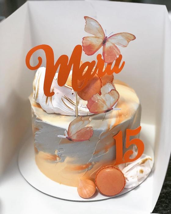 Ornament  tort cu 3 toppere fluturi portocaliu pastelat 0
