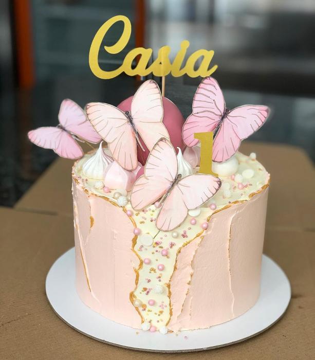 Ornament  tort cu 5 toppere fluturi roz pastel prăfuit 0