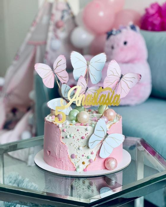 Ornament tort cu 6 toppere mari cu fluturi pastelati roz si turcoaz verde menta [0]