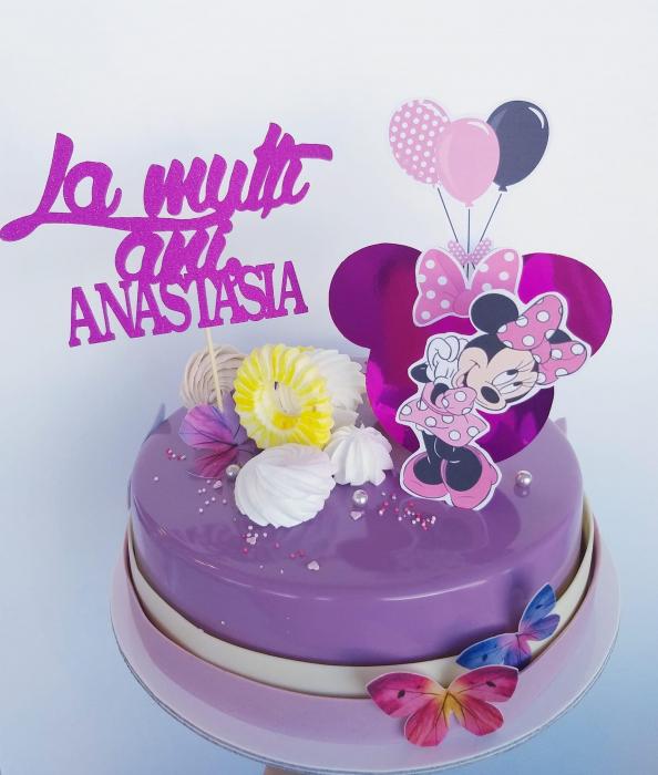 Suită de toppere de tort cu figurină Minnie roz 0