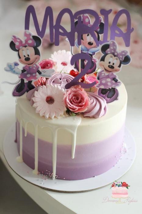 Suită toppere de tort cu Minnie varianta mov 1