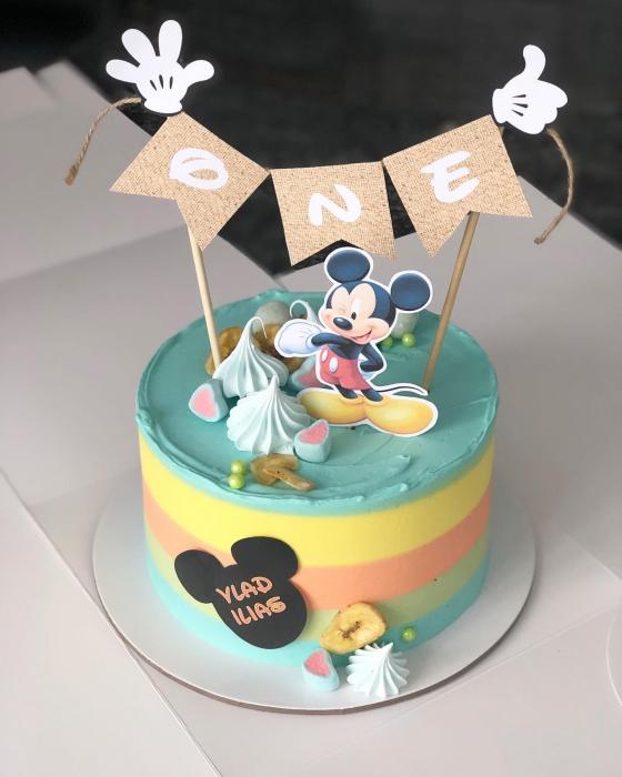 Banner pentru tort cu ONE și Mickey 0