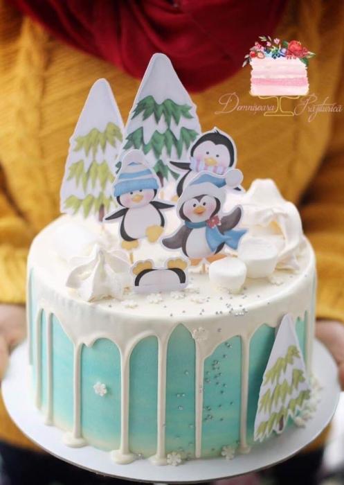 Suită de toppere tort cu pinguini veseli și brazi 0