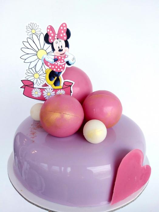 Topper tort cu Minnie cu banner si margarete 2