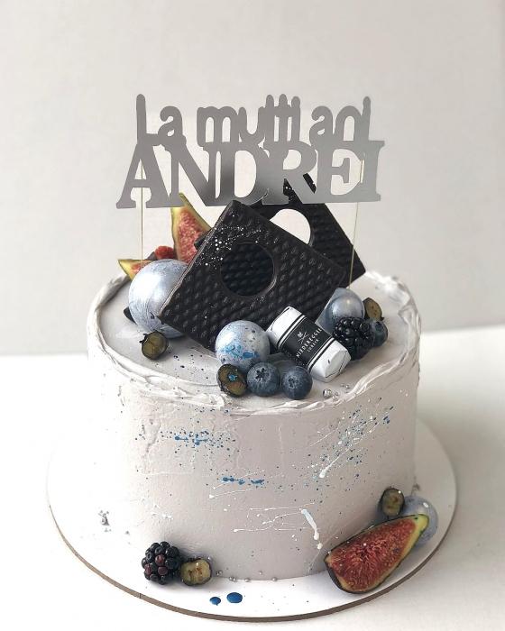 Decoratiune tort personalizata cu La multi ani Andrei argintiu mat 0