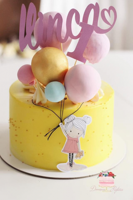 Topper tort fetita cu baloane 0