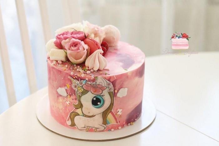 Topper frontal pentru tort cu unicorn simpatic [0]