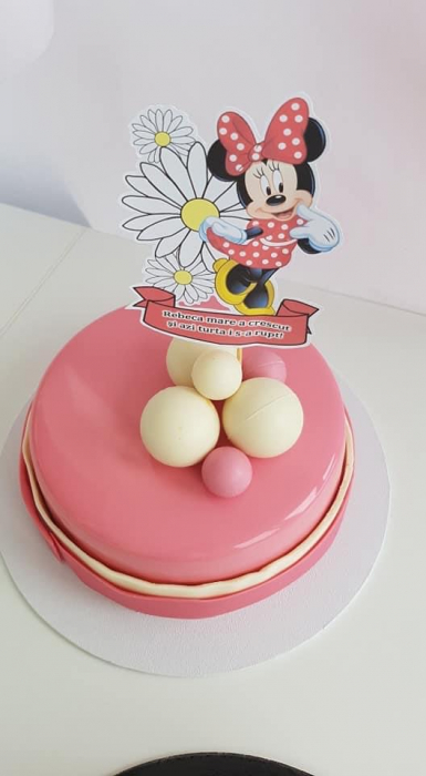 Topper tort cu Minnie cu banner personalizat 0