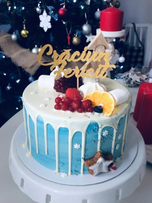 Topper tort cu Crăciun fericit auriu 0