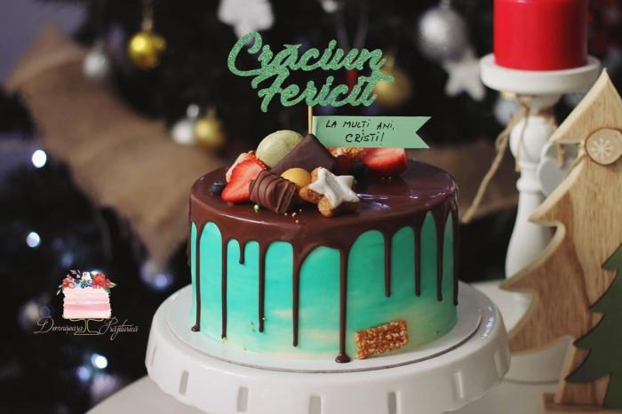 Topper tort cu Crăciun fericit verde 0