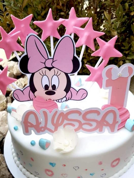Topper tort cu baby Minnie roz 0