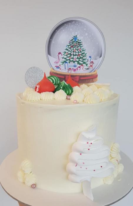 Topper tort cu glob de Crăciun 0