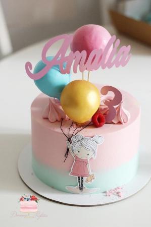 Topper fetița pentru tort cu baloane2