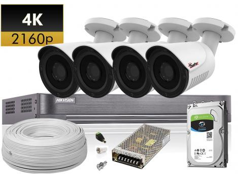 Kit supraveghere complet 4 camere exterior 4K, accesorii si HDD inclus 0