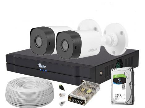 Kit supraveghere video 2 camere, complet, FULL HD, IR 20m, 1 x HDD 0