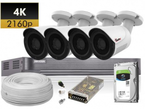 Kit supraveghere complet 4 camere exterior 4K, accesorii si HDD inclus0
