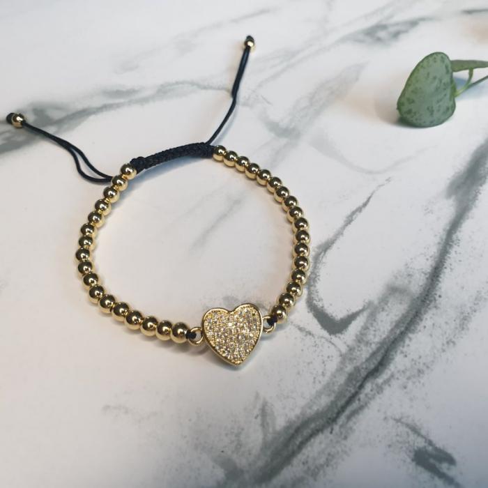 Bratara handmade cu charm inima 2