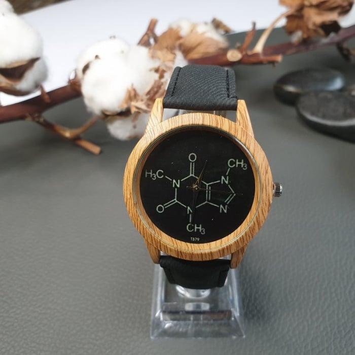 ceas dama cu formula chimica a cafeinei cu cadran negru 0