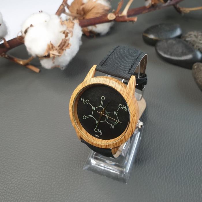 ceas dama cu formula chimica a cafeinei cu cadran negru 3