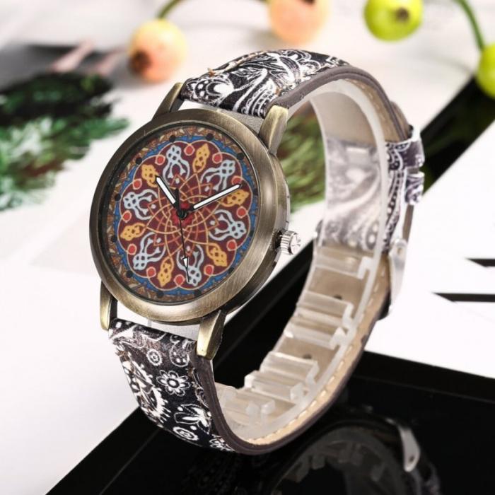 Ceas dama mozaic, curea imprimeu floral 0
