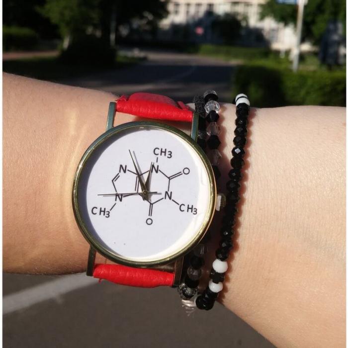ceas dama cu formula chimica a cafeinei cu cadran alb [0]