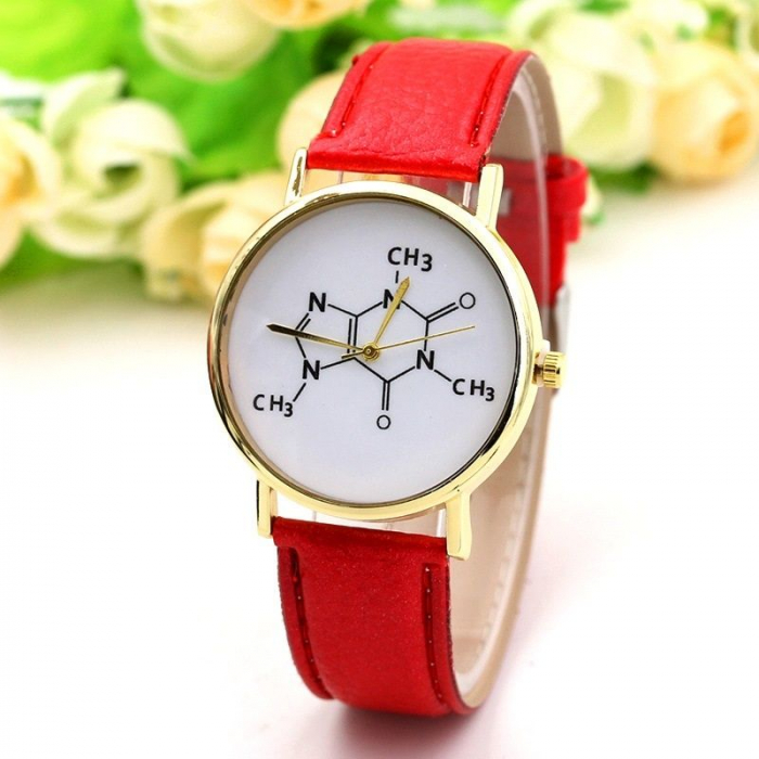 ceas dama cu formula chimica a cafeinei cu cadran alb [1]