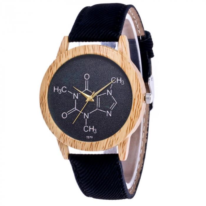 ceas dama cu formula chimica a cafeinei cu cadran negru 4