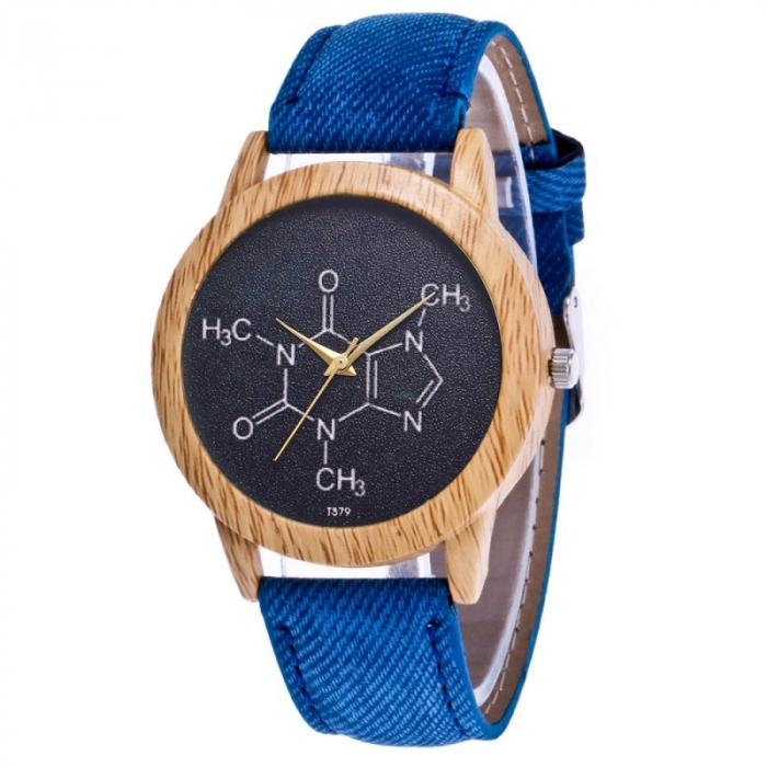 ceas dama cu formula chimica a cafeinei cu cadran negru [0]