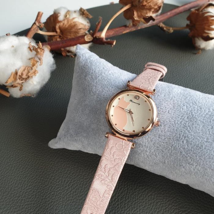 ceas cu pisica si curea din piele ecologica [1]