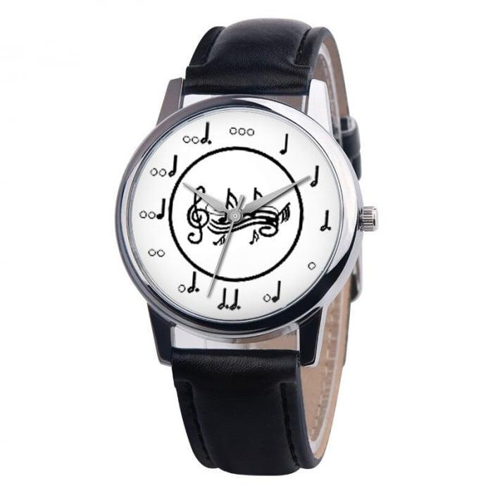 Ceas dama cu portativ si note muzicale pe cadran, curea piele ecologica [0]