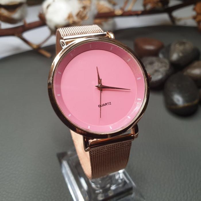Ceas dama ieftin elegant, curea metalica, cadran roz 0