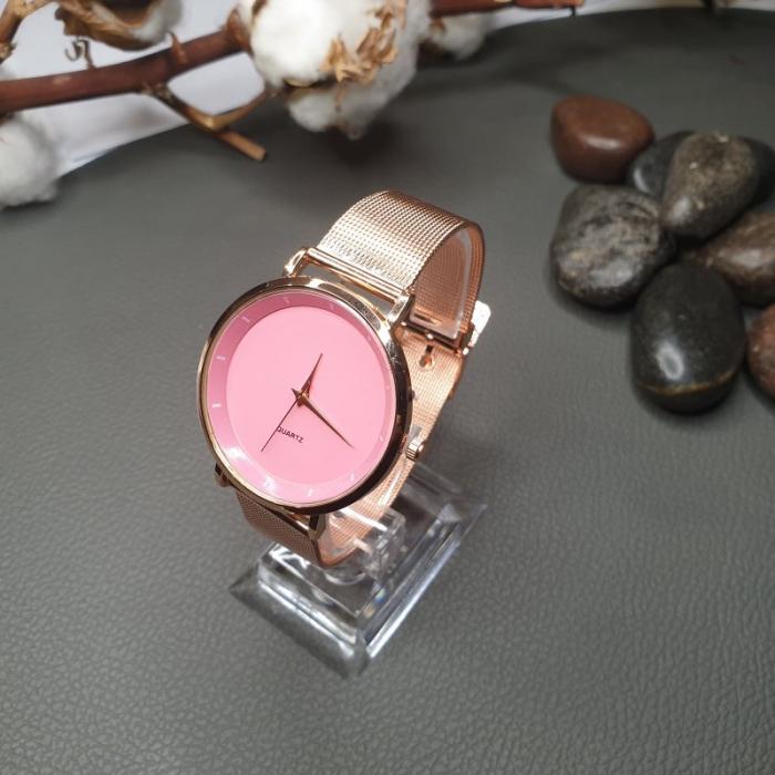 Ceas dama ieftin elegant, curea metalica, cadran roz 4