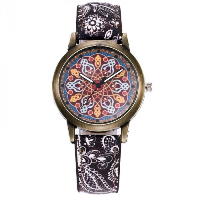 Ceas dama mozaic, curea imprimeu floral 1