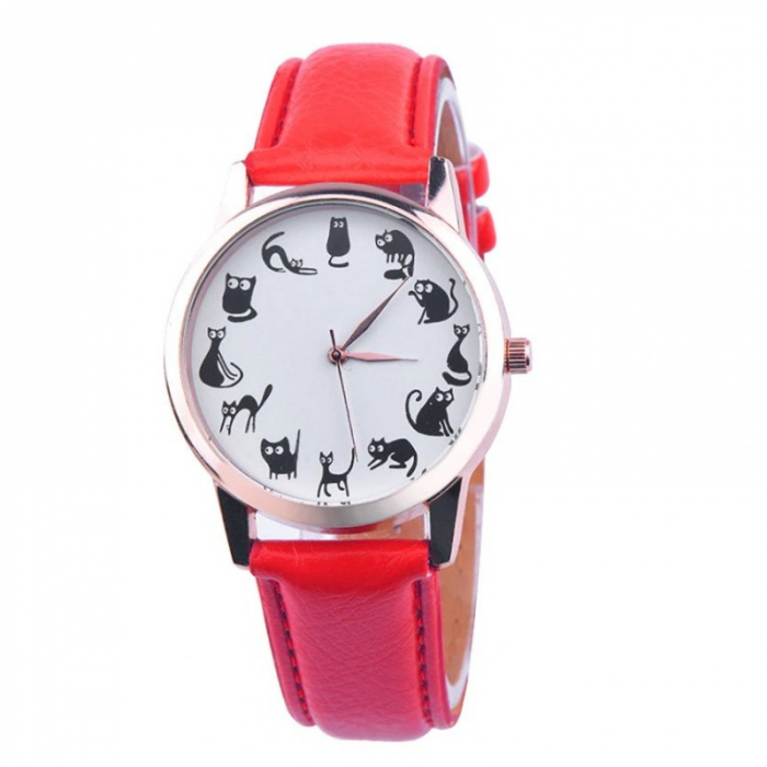 ceas daama cu pisici la fiecare ora, cadran alb 0