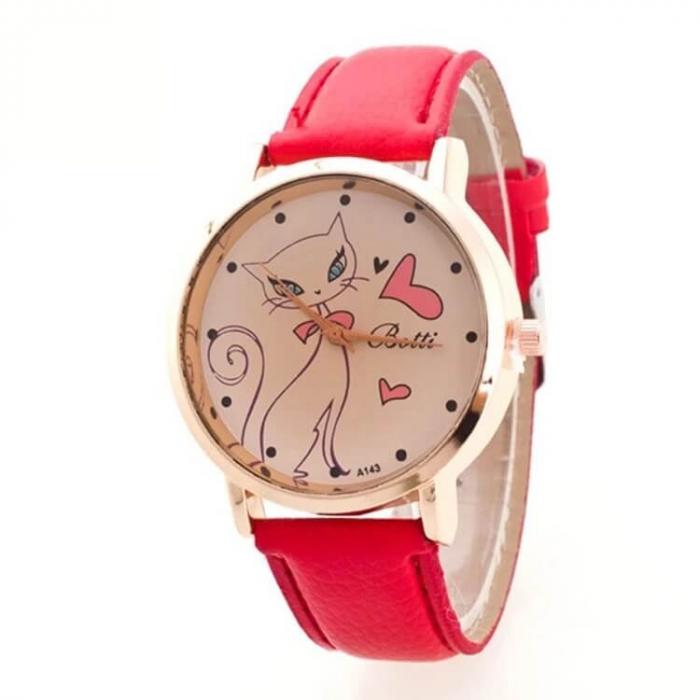 Ceas de dama cu pisica pe cadran si curea rosie 0